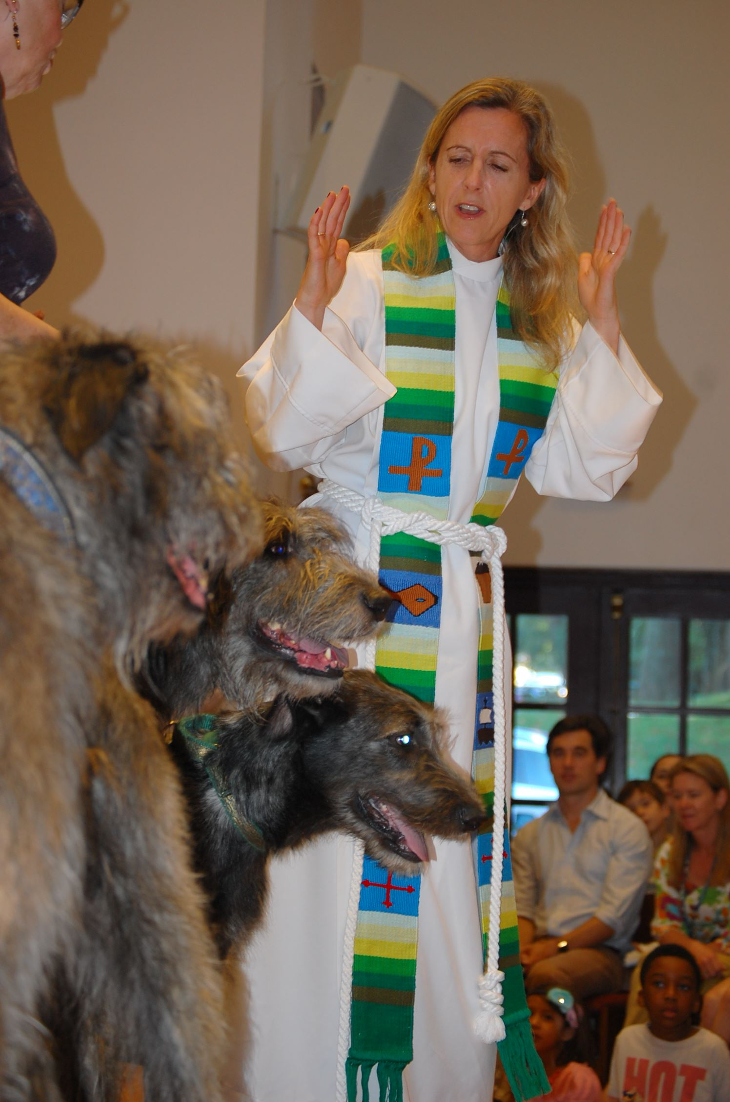 Reverend Katie Solter with dogs in church