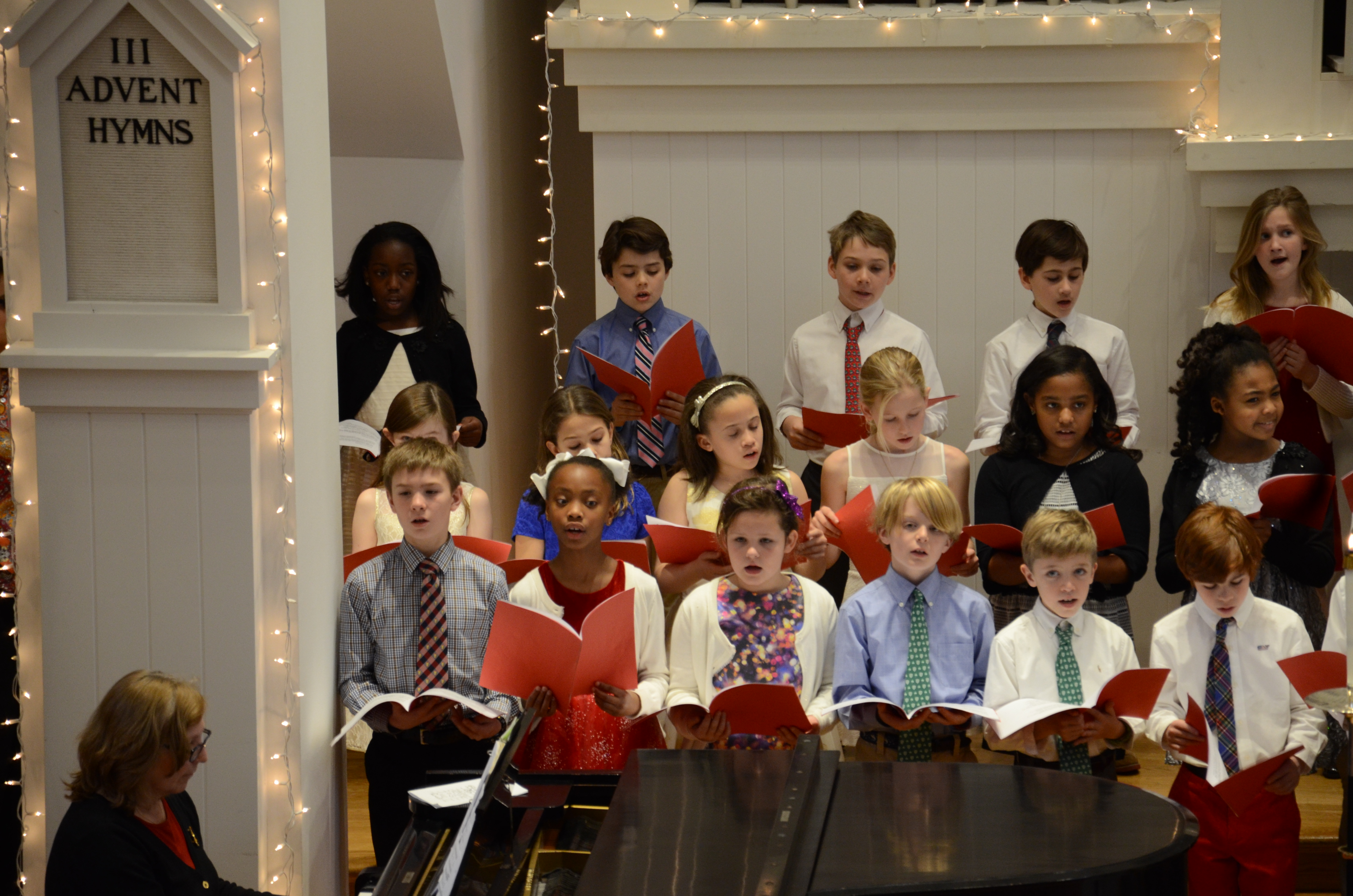 Lower school students singing