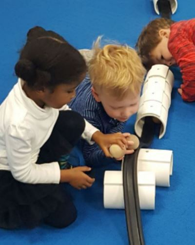 Nursery students building