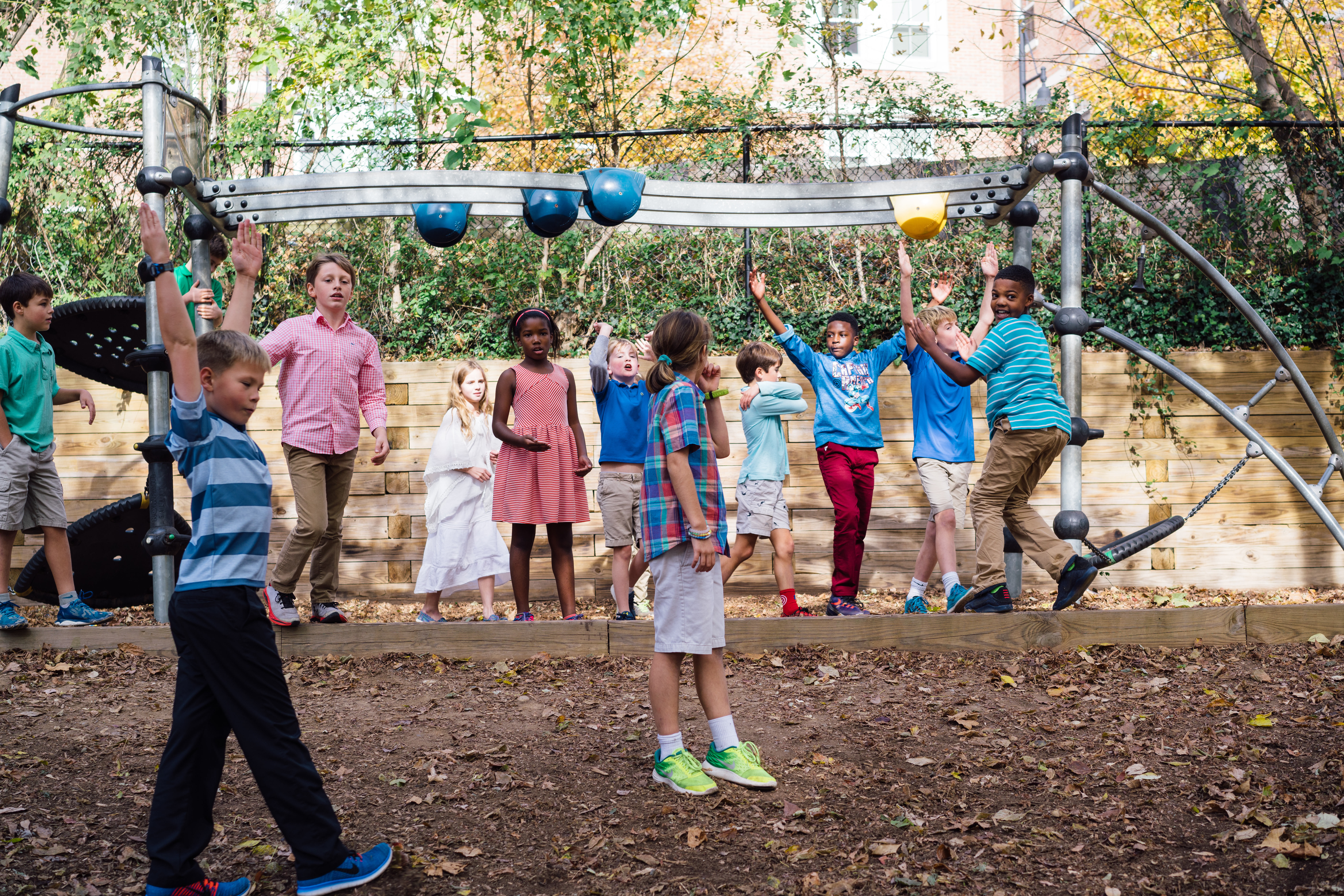 Lower school students on playground
