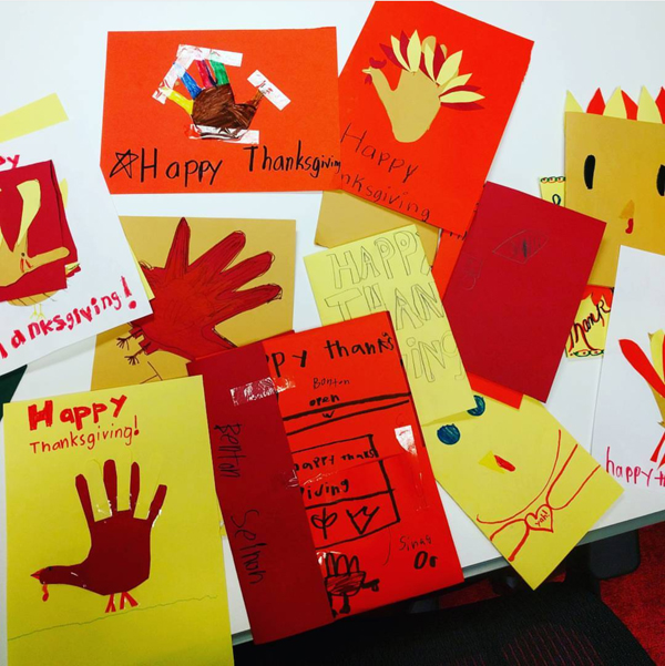 Handmade student thanksgiving cards